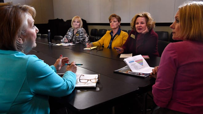 Staff from the Abilene Convention and Visitors Bureau hold their weekly meeting April 5. Staff uses this time to report on the progress of initiatives, plan new ones and trade ideas for future projects.