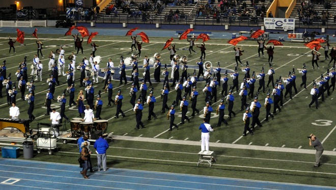 The Carlsbad Marching Band performs at halftime during Carlsbad's Homecoming game Oct. 9, 2015 against Goddard. Carlsbad is hosting Goddard again this year on Homecoming night.