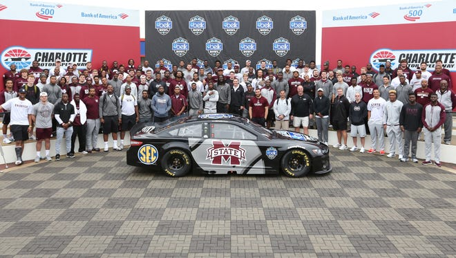 Mississippi State visited Charlotte Motor Speedway on Sunday as part of the events leading up to the Belk Bowl.