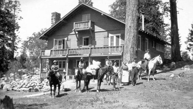 Palm Springs pioneer Cornelia White's Idyllwild home with horses and riders 1918.