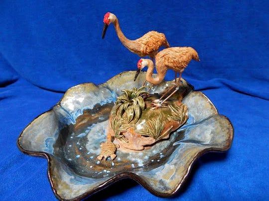 Work by Lorrie Goss: Sandhill Crane pair fountain