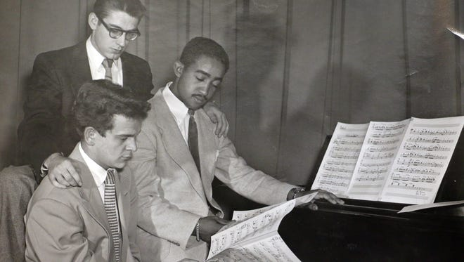 Roger Maxwell, right, is shown in the early 1950s with two of his fellow music students at the University of Northern Iowa: Dick Gueder (seated) and Warren Hatfield (standing). Maxwell, 83, will return to UNI Friday, April 8, to receive an award.