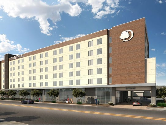 A rendering of the proposed Doubletree Hotel that will