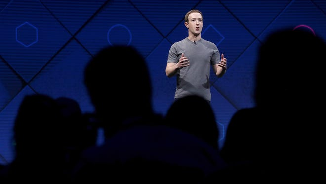 Mark Zuckerberg delivers the keynote address at Facebook's F8 Developer Conference.