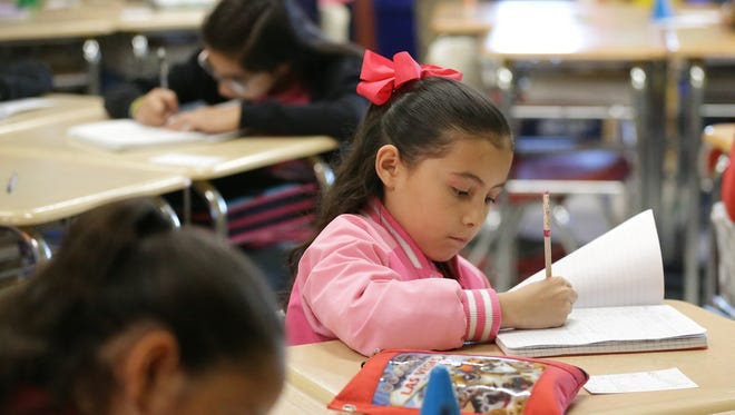 Harmony fifth Grader Luciana Arnenta listens to instruction during match class Tuesday at Harmony School, 9435 Betel.