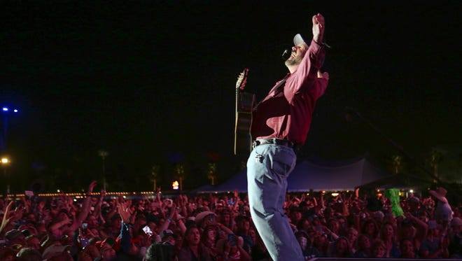 Apr 29, 2018; Indio, CA, USA; Garth Brook performs at the Stagecoach Country Music Festival at Empire Polo Club. Mandatory Credit: Jay Calderon/The Desert Sun via USA TODAY NETWORK
