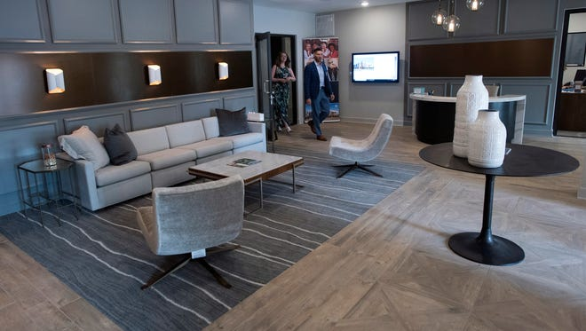 The Intendencia Street lobby of the new Southtowne apartment complex built on the old Pensacola News Journal property as seen in the photo from Wednesday, June 6, 2018.