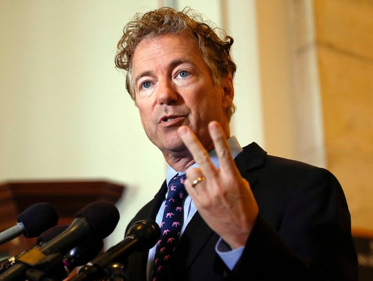 In this Sept. 25, 2017, file photo, Sen. Rand Paul,