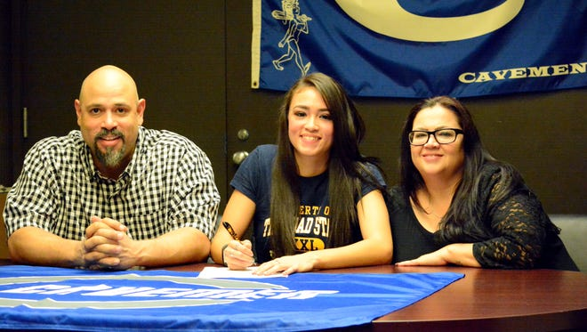 Carlsbad's Teddi Garcia signs with Trinidad (Colo.) State Junior College on Monday.