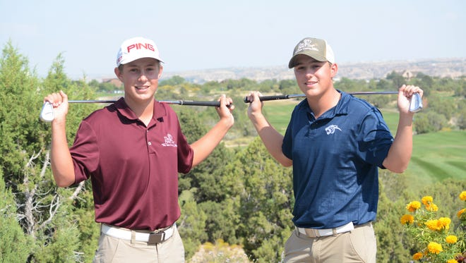Brothers Trey Diehl, left, and Tyler Diehl, right, of the Piedra Vista boys golf team will compete in a PGA Champions Tour event called the Pure Insurance Championship Impacting The First Tee Sept. 22-24 in Pebble Beach, Calif.