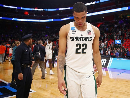 Miles Bridges reacts after the 55-53 loss to Syracuse