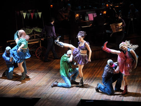 "The cast of ""MOONSHINE: That Hee Haw Musical"" performs"