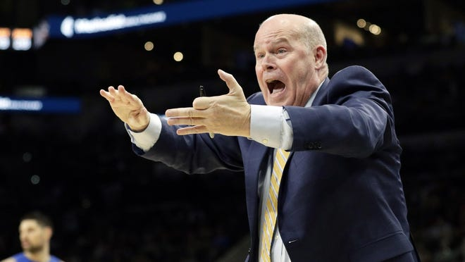 Orlando Magic head coach Steve Clifford argues a call during a game against the San Antonio Spurs in San Antonio on Feb. 29. The Magic enter the NBA restart trying to clinch an Eastern Conference playoff berth.