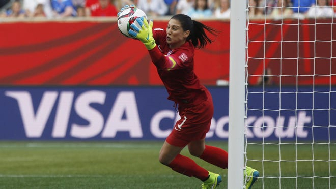 Jun 8, 2015; Winnipeg, Manitoba, CAN; United States goalkeeper Hope Solo (1) makes a save against Australia in a Group D soccer match in the 2015 women's World Cup at Winnipeg Stadium. Mandatory Credit: USA TODAY Sports Images