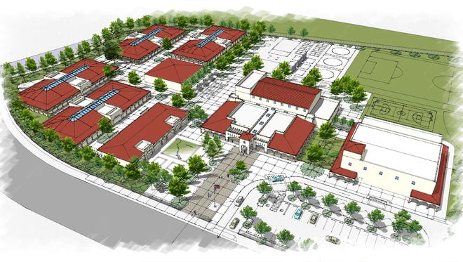 A rendering of the proposed school at Harvest at Limoneira, formerly known as East Area One in Santa Paula. Whether the school is K-8 or K-5 will depend on a state bond measure before voters in November.