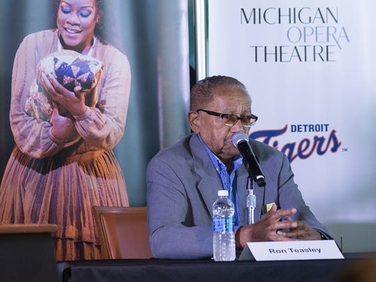 """Ron Teasley, a 90-year-old former Negro Leagues player for the New York Cubans, speaks on a panel Tuesday, June 27, 2017, during the announcement of the campaign between The Detroit Tigers and Detroit's Michigan Opera Theatre, who are partnering in a unique merger of the arts and sports for a year-long examination and celebration of the role each has played in improving race relations.The campaign, called """"Take Me Out to the Opera"""" will culminate next spring with a production about Josh Gibson, the Negro League baseball player whose legendary baseball prowess was diminished by racial discrimination, the hallmark of America's history for most of the 20th century."""
