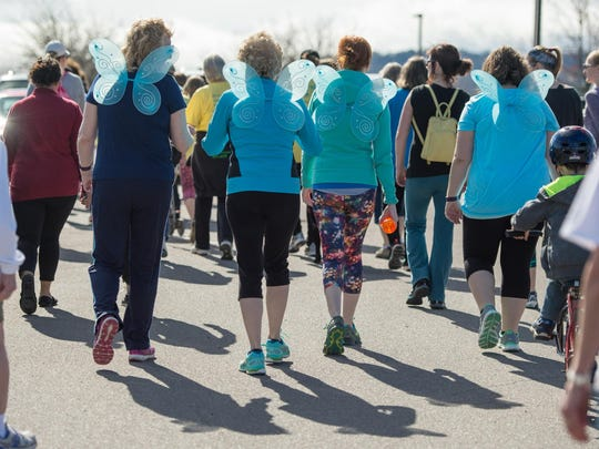 Walkers take off at the start of the VNA Vermont Respite House 5K Fun Run & Jiggety Jog in Williston on Saturday.