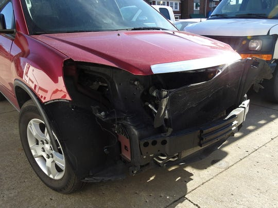 A GMC Acadia was involved in a deer accident recently and is being repaired at Classic Body Shop in Zanesville.
