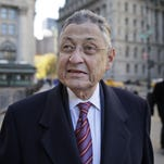 Former New York Assembly Speaker Sheldon Silver exits Manhattan federal court following his conviction on corruption charges in December 2015 in New York City.