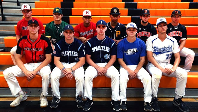 The Courier News All-Area baseball first team (first row from left to right) Hunterdon Central's Alex Degen, Immaculata's Michael Golankiewicz, Immaculata's Mike Nee, Gill St. Bernards' Ryan Morash, Westfield's Chris Wagner. Second Row of Governor Livingston's Drew Compton, Montgomery's Ryan McKenna, Piscataway's Matt Peterson, Somerville's Thomas Babalis, Somerville's Preston Scott