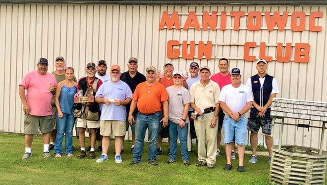Manitowoc Gun Club competed at the 119th annual Wisconsin State Shoot. Pictured, back row, from left:Brian Schulz, Lee Fischer, Tom Hartman, Wally Norkosky, Butch Yindra, Chris Yindra and Fred Hansen. Front row, from left: Jeff LeBeau, Sarah Fischer, Al Ansorge, Dave Herrmann, Mark Wolff, Andrew Yindra, Tom Staskal andTom Kitzerow. Not pictured: Lawrence Hansen, Avery LeBeau, Larry Elliott and Robert Meyer.