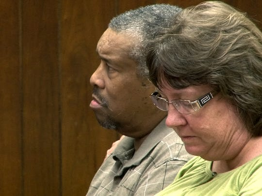Keith E. Morgan, 56, and Shauna Ewing Morgan, 43, are shown in Brick Township municipal court in July 2013 where they faced animal cruelty charges. They were charged with leaving Sammy, a 15-year-old cocker spaniel in a trash bag in Monmouth County.