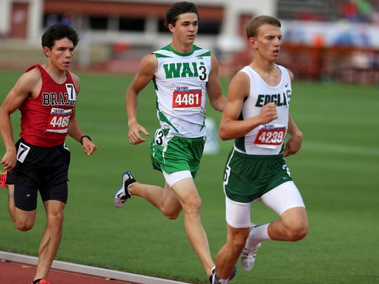 Grape Creek's Jakob Porter held off Wall's Holden Stoute to claim the gold medal in the Class 3A boys 800 meter run at the state track meet.