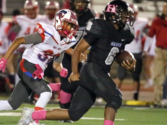 Hanks running back Rashon Peterson, 6, steams to the goal line against Bel Air Friday night.