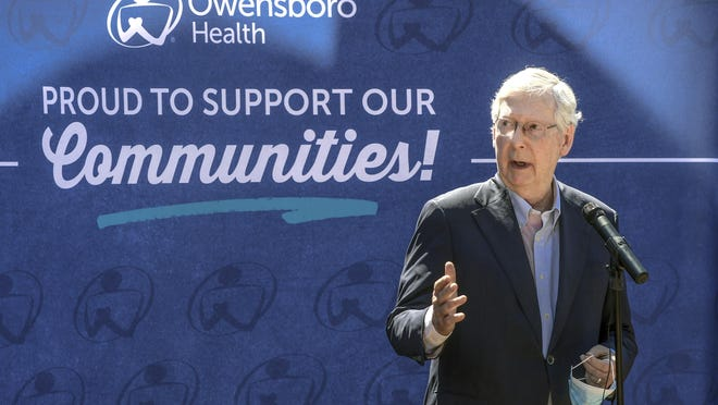 U.S. Senate Majority Leader Mitch McConnell speaks outside of the Owensboro Health Muhlenberg Community Hospital during a press conference July 14 in Greenville, Ky.