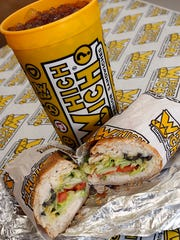 The Chicken Skinny Sandwich at Which Wich also comes in a buffalo chicken option.