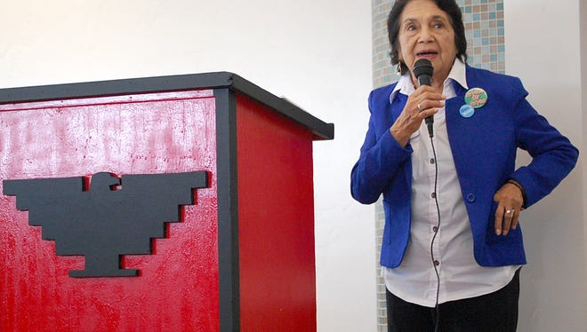 Dolores Huerta visited Salinas on Friday.