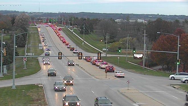 Traffic on Jordan Creek Parkway is backed up during a recent afternoon rush hour while waiting to turn west on University Avenue. This photo is looking north on Jordan Creek Parkway from the Interstate Highway 80 bridge.