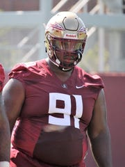 FSU DT Robert Cooper during the third practice of fall