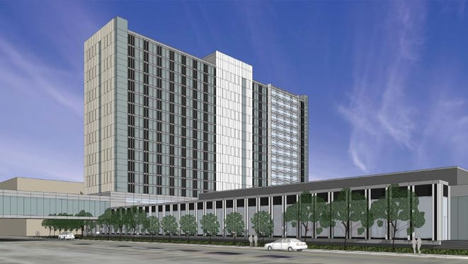 This rendering shows the proposed $130 million convention hotel in downtown Des Moines looking northwest from Park Street.