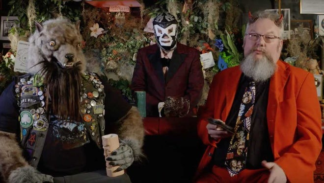 """Nightmare Theatre"" will make its WSRE debut on Oct. 27. The show is hosted by, left to right, Mittens the Werewolf, El Sapo de Tempesto and Baron Mondo Von Doren."