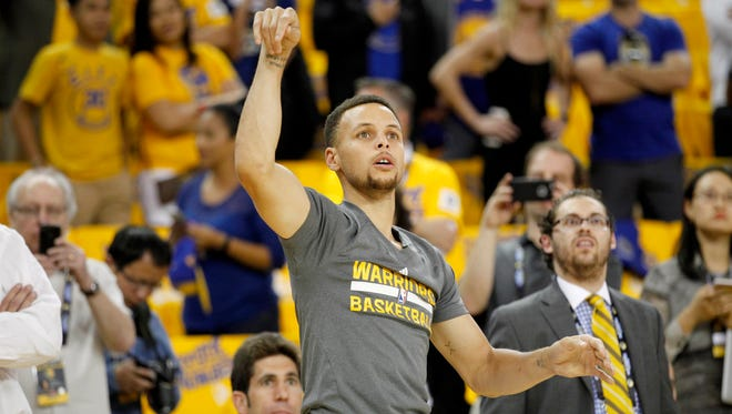The reigning MVP filmed a trick shot and challenged Warrior nation to match his efforts.