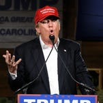 Trump speaks during a campaign stop in Gilbert, S.C.