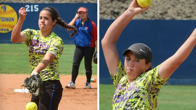 Gregory-Portland pitchers Sydney Ouellette (right) and Nicole Pinney along with two other players from G-P were named to the 2017 Hooks South Texas Preseason All-Star Large School Softball Team on Wednesday.