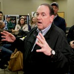 Republican presidential candidate, former Arkansas Gov. Mike Huckabee, talks during a campaign stop at the Crossroads Shooting Sports, Saturday, Jan. 30, 2016 in Johnston, Iowa.