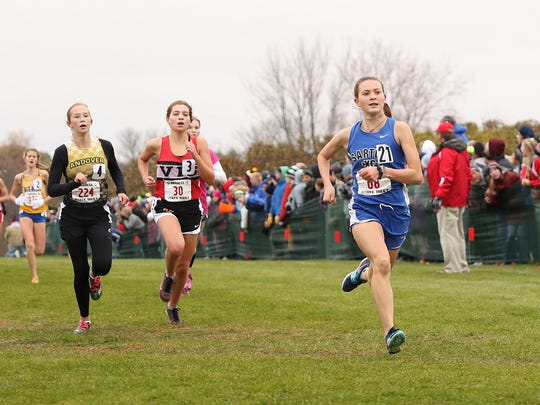 Sartell's Ingrid Buiceag-Arama fiinshes in 30th place at the State class 2A cross country meet at St.Olaf College Saturday.