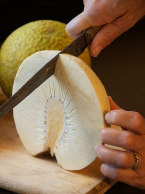 Some describe it as bland tasting, but the starchy breadfruit can replace potatoes in many dishes. It can be boiled, steamed or fried to make chips, and one breadfruit tree can provide food for 50 years.