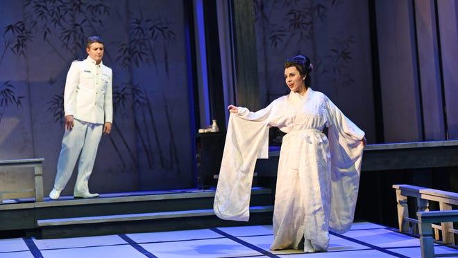 "Daniel Montenegro as B.F. Pinkerton and Sandra Lopez as Cio-Cio-San in ""Madama Butterfly."""