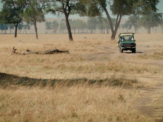 Jeep in the Maasai Mara during filming of doscumentary