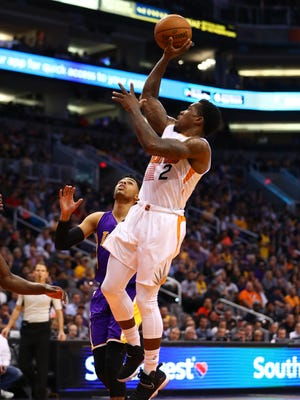 Feb 15, 2017: Phoenix Suns guard Eric Bledsoe (2) against the Los Angeles Lakers at Talking Stick Resort Arena. The Suns defeated the Lakers 137-101.