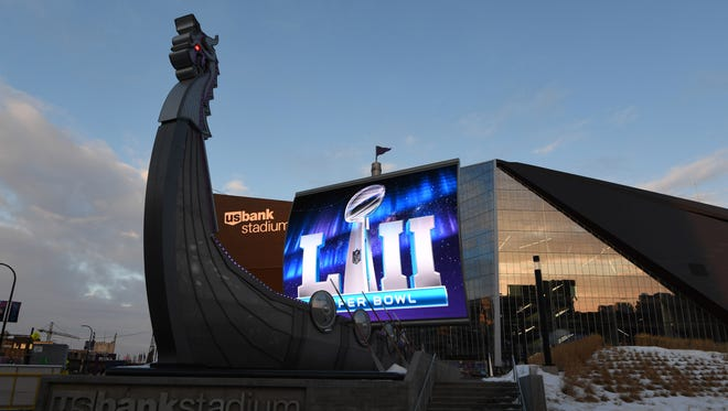 General view of U.S. Bank Stadium prior to Super Bowl LII.