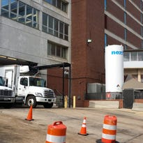 Trucks line up daily to supply Methodist University Hospital and others in the Memphis Medical District.