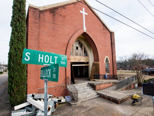 The old Holt Street Baptist Church building in Montgomery,