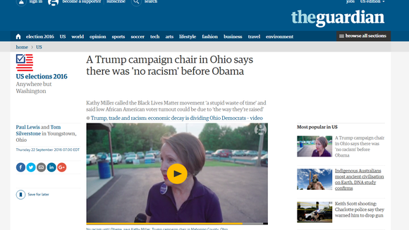 Screen grab of story from The Guardian