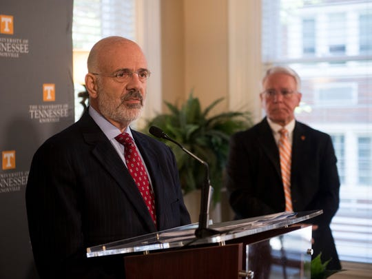 Joe DiPietro, president of the University of Tennessee and Wayne Davis, interim chancellor of the University of Tennessee in a news conference on Monday, May 7, 2018.