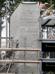 Construction proceeds on the parking structure at Harrison Medical Center in Silverdale.
